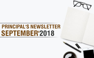 Principal's Newsletter for September 2018